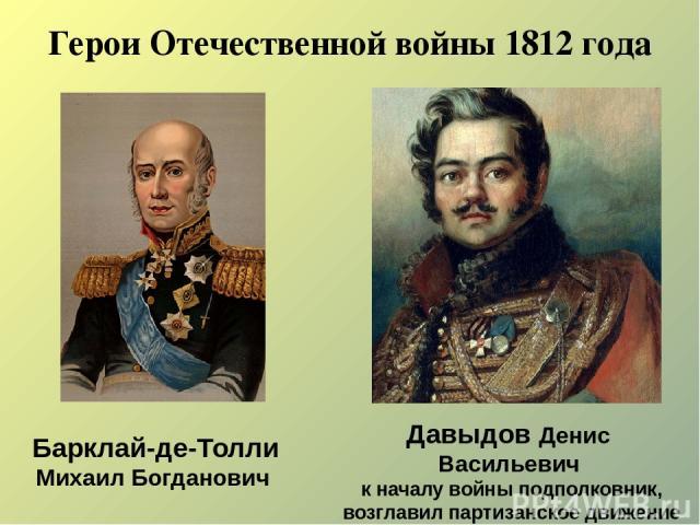 Герои Отечественной войны 1812 года Давыдов Денис Васильевич к началу войны подполковник, возглавил партизанское движение Барклай-де-Толли Михаил Богданович