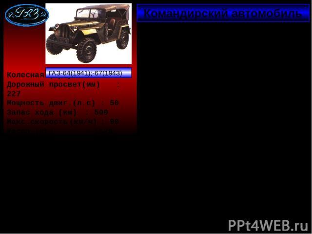 Командирский автомобиль Колесная формула : 4х4 Дорожный просвет(мм) : 227 Мощность двиг.(л.с) : 50 Запас хода (км) : 500 Макс.скорость (км/ч) : 90 Масса (кг) : 1320 Мгновенная реакция автозавода «ГАЗ», мобилизация конструкторских и производственных …