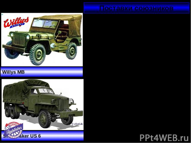 Поставки союзников Ленд-лиз (англ. lend — давать взаймы и lease — сдавать в аренду, внаём) — государственная программа США-СССР: США передавали союзникам боеприпасы, технику, продовольствие и стратегическое сырьё. Willys MB Studebaker US 6 Помощь бы…