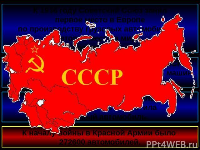 К 1936 году Советский Союз занял первое место в Европе по производству грузовых автомобилей и второе место в мире после США. В 1938 году автомобильные заводы СССР поставили народному хозяйству 211 114 машин всех типов. К началу войны в Красной Армии…
