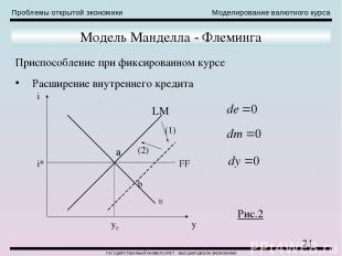 Проблемы открытой экономики Моделирование валютного курса ГОСУДАРСТВЕННЫЙ УНИВЕР