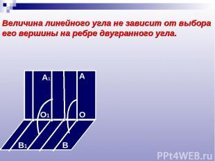 Величина линейного угла не зависит от выбора его вершины на ребре двугранного уг