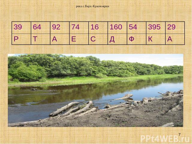 река с.Верх-Красноярки * 39 64 92 74 16 160 54 395 29 Р Т А Е С Д Ф К А река с.Верх-Красноярки
