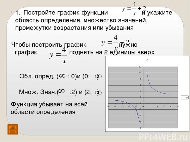 Чтобы построить график нужно график поднять на 2 единицы вверх 1. Постройте график функции и укажите область определения, множество значений, промежутки возрастания или убывания Обл. опред. (- ; 0)и (0; ) Множ. Знач.(- ;2) и (2; ) Функция убывает на…