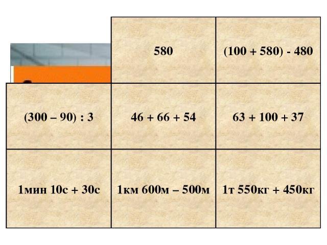 580 (100 + 580) - 480 (300 – 90) : 3 46 + 66 + 54 63 + 100 + 37 1мин 10с + 30с 1км 600м – 500м 1т 550кг + 450кг