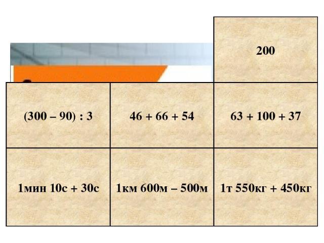 1мин 10с + 30с 1км 600м – 500м 1т 550кг + 450кг 63 + 100 + 37 200 (300 – 90) : 3 46 + 66 + 54