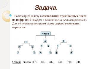 Задача. Рассмотрим задачу о составлении трехзначных чисел из цифр 1;4;7 (цифры в