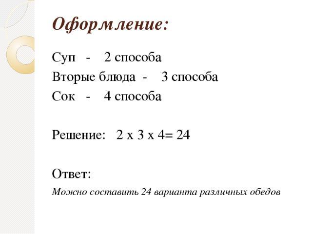 Оформление: Суп - 2 способа Вторые блюда - 3 способа Сок - 4 способа Решение: 2 x 3 x 4= 24 Ответ: Можно составить 24 варианта различных обедов