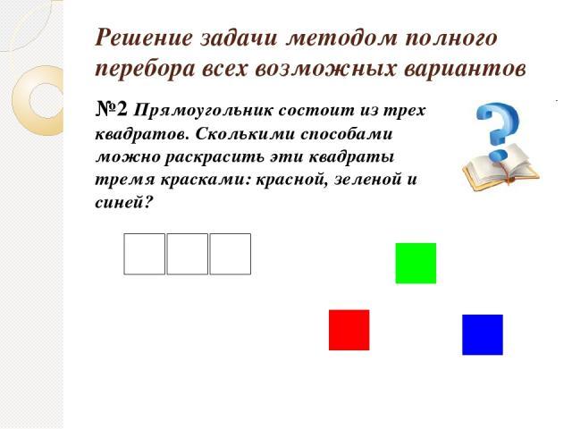 Решение задачи методом полного перебора всех возможных вариантов №2 Прямоугольник состоит из трех квадратов. Сколькими способами можно раскрасить эти квадраты тремя красками: красной, зеленой и синей?