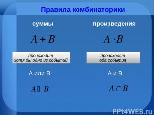 Правила комбинаторики суммы произведения А или В А и В происходит хотя бы одно и