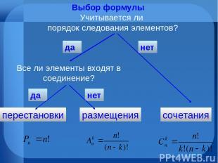Выбор формулы Учитывается ли порядок следования элементов? да нет сочетания пере