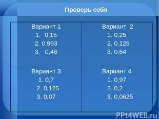 Проверь себя Вариант 1 0,15 2. 0,993 3. 0,48 Вариант 2 1. 0,25 2. 0,125 3. 0,64
