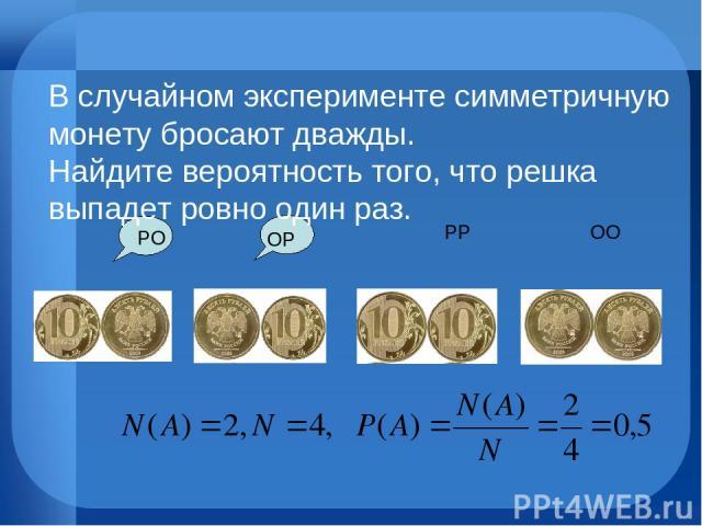 ОО РР ОР РО В случайном эксперименте симметричную монету бросают дважды. Найдите вероятность того, что решка выпадет ровно один раз.