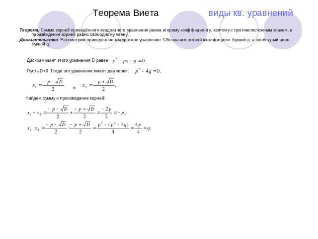 Теорема Виета виды кв. уравнений Теорема. Сумма корней приведённого квадратного уравнения равна второму коэффициенту, взятому с противоположным знаком, а произведение корней равно свободному члену. Доказательство. Рассмотрим приведённое квадратное у…