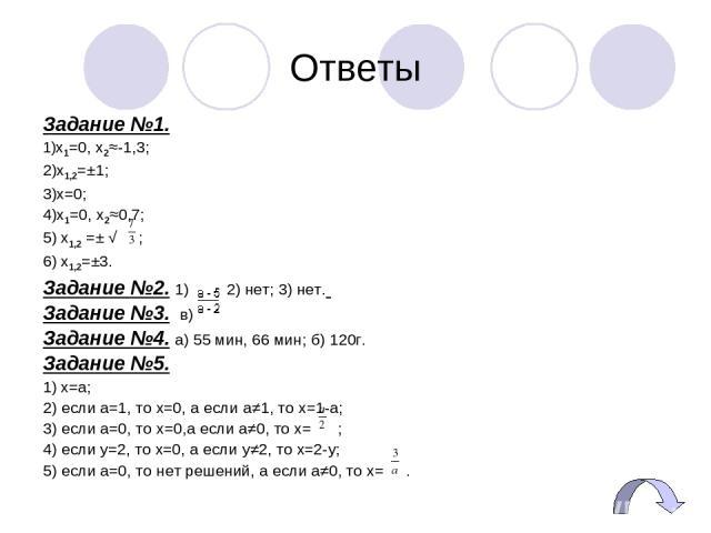 Ответы Задание №1. 1)x1=0, x2≈-1,3; 2)x1,2=±1; 3)x=0; 4)х1=0, х2≈0,7; 5) х1,2 =± √ ; 6) x1,2=±3. Задание №2. 1) нет; 2) нет; 3) нет. Задание №3. в) Задание №4. а) 55 мин, 66 мин; б) 120г. Задание №5. 1) x=a; 2) если a=1, то x=0, а если a≠1, то x=1-a…