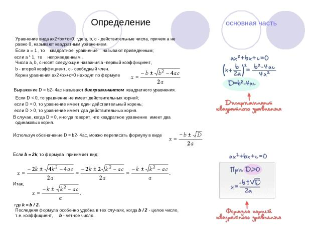 Определение основная часть Уравнение вида ax2+bx+c=0, где a, b, c - действительные числа, причем a не равно 0, называют квадратным уравнением. Если a = 1 , то  квадратное уравнение  называют приведенным; если a ¹ 1, то  неприведенным. Числ…