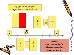 Какая часть фигуры закрашена красным цветом? 1 2 2 4 = 0 1 А 1 3 2 6 = Вывод: Дв