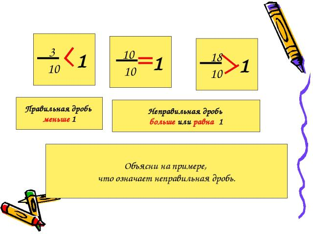 3 10 1 10 10 1 18 10 1 Правильная дробь меньше 1 Неправильная дробь больше или равна 1 Объясни на примере, что означает неправильная дробь.