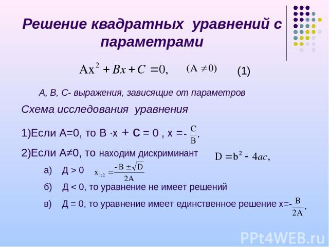 Решение квадратных уравнений с параметрами Схема исследования уравнения Если А=0, то В ∙х + с = 0 , х = Если А≠0, то находим дискриминант а) Д > 0 б) Д < 0, то уравнение не имеет решений в) Д = 0, то уравнение имеет единственное решение х=- (1) А, В…