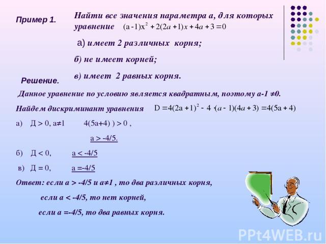 Пример 1. Найти все значения параметра а, для которых уравнение а) имеет 2 различных корня; б) не имеет корней; в) имеет 2 равных корня. Решение. Данное уравнение по условию является квадратным, поэтому а-1 ≠0. Найдем дискриминант уравнения а) Д > 0…