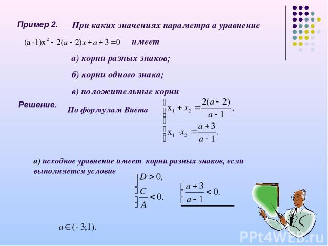 Пример 2. При каких значениях параметра а уравнение имеет а) корни разных знаков; б) корни одного знака; в) положительные корни Решение. а) исходное уравнение имеет корни разных знаков, если выполняется условие По формулам Виета