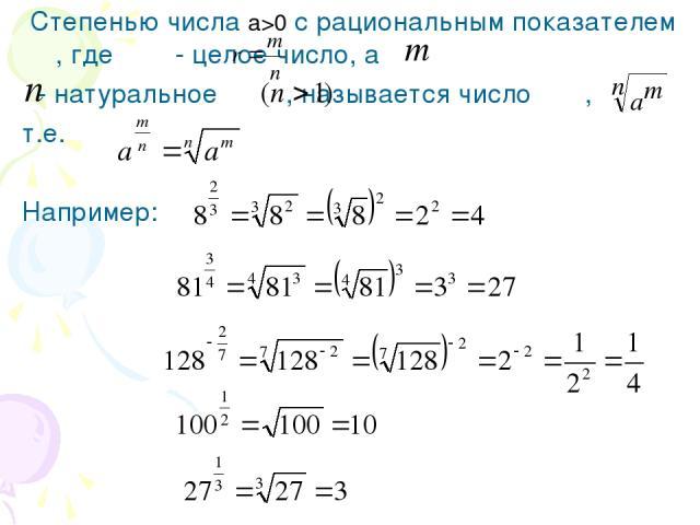 Степенью числа а>0 с рациональным показателем , где - целое число, а - натуральное , называется число , т.е. Например: