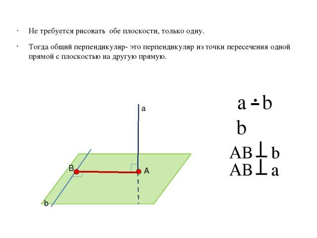 Не требуется рисовать обе плоскости, только одну. Тогда общий перпендикуляр- это перпендикуляр из точки пересечения одной прямой с плоскостью на другую прямую. AB b b ϵβ AB a а b β A B a b