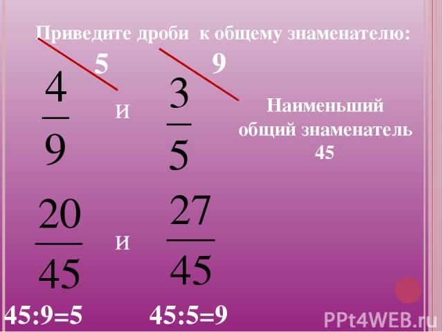 Приведите дроби к общему знаменателю: и Наименьший общий знаменатель 45 и 45:9=5 45:5=9 9 5