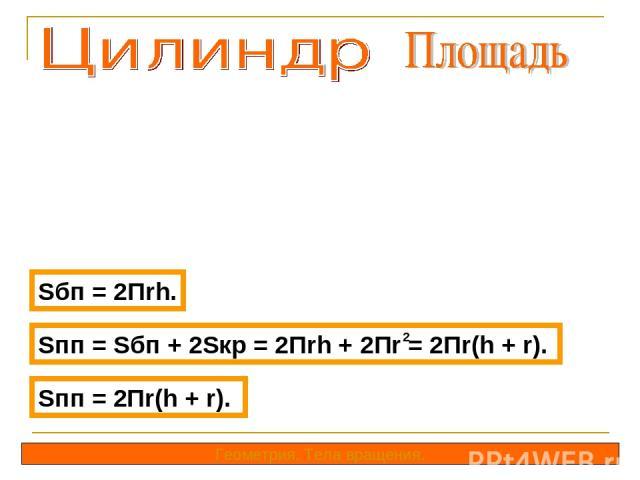 Sбп = 2Пrh. Геометрия. Тела вращения. Sпп = Sбп + 2Sкр = 2Пrh + 2Пr = 2Пr(h + r). 2 Sпп = 2Пr(h + r).