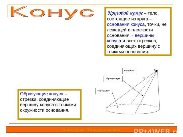 Круговой конус – тело, состоящее из круга – основания конуса, точки, не лежащей в плоскости основания, - вершины конуса и всех отрезков, соединяющих вершину с точками основания. Образующие конуса – отрезки, соединяющие вершину конуса с точками окруж…