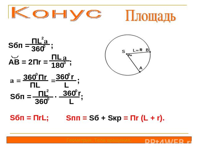Sбп = ; ПL a 2 360 0 Геометрия. Тела вращения. AB = 2Пr = ; ПL a 180 0 a = = ; 360 Пr ПL 360 r 0 0 L Sбп = ; ПL 2 360 0 . 360 r 0 L Sбп = ПrL; Sпп = Sб + Sкр = Пr (L + r).