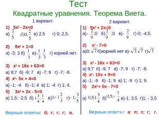 Тест Квадратные уравнения. Теорема Виета. 1 вариант. 1) 5х2 - 2х=0 а) в) 2,5 г)