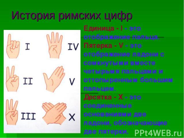 История римских цифр Единица - I - это отображение пальца. Пятерка - V - это отображение ладони с сомкнутыми вместе четырьмя пальцами и оттопыренным большим пальцем. Десятка - Х - это соединенные основаниями две ладони, обозначающие две пятерки.