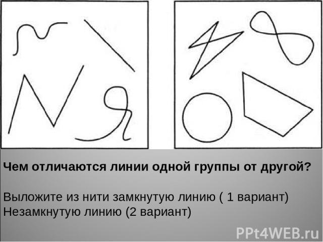 Чем отличаются линии одной группы от другой? Выложите из нити замкнутую линию ( 1 вариант) Незамкнутую линию (2 вариант)