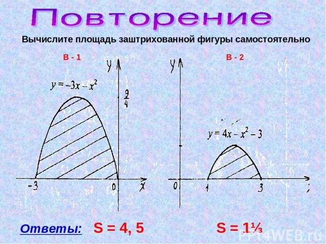 Вычислите площадь заштрихованной фигуры самостоятельно Ответы: S = 4, 5 S = 1⅓ В - 1 В - 2