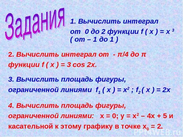 1. Вычислить интеграл от 0 до 2 функции f ( х ) = х 3 ( от – 1 до 1 ) 2. Вычислить интеграл от - π/4 до π функции f ( х ) = 3 cos 2х. 3. Вычислить площадь фигуры, ограниченной линиями f1 ( х ) = х2 ; f2 ( х ) = 2х 4. Вычислить площадь фигуры, ограни…