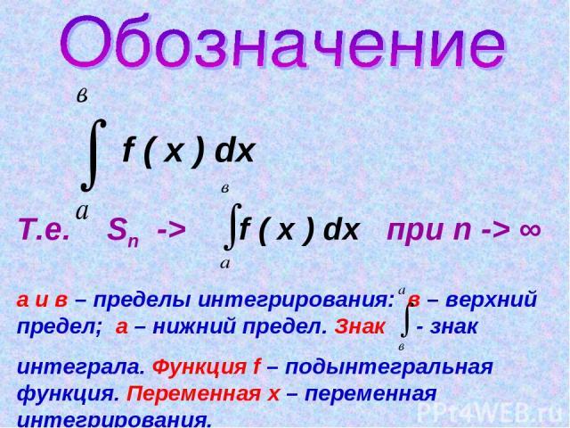 f ( x ) dx Т.е. Sn -> f ( x ) dx при n -> ∞ а и в – пределы интегрирования: в – верхний предел; а – нижний предел. Знак - знак интеграла. Функция f – подынтегральная функция. Переменная х – переменная интегрирования.