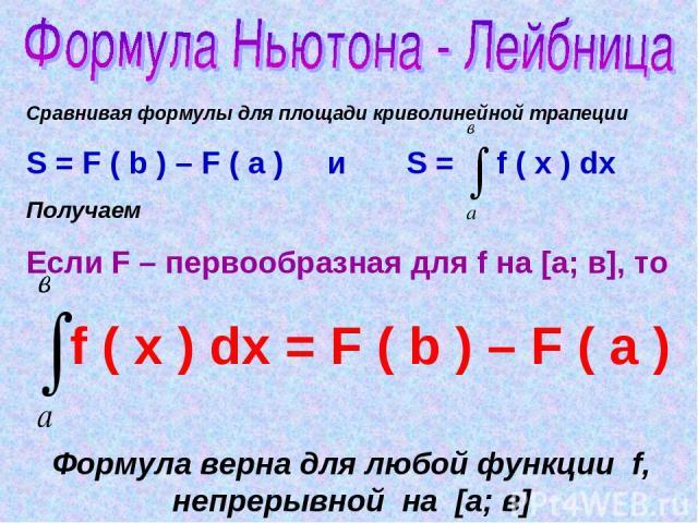 Сравнивая формулы для площади криволинейной трапеции S = F ( b ) – F ( a ) и S = f ( x ) dx Получаем Если F – первообразная для f на [а; в], то f ( x ) dx = F ( b ) – F ( a ) Формула верна для любой функции f, непрерывной на [а; в]
