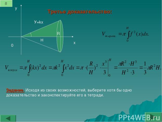 Третье доказательство: 0 x y H y=kx α 8 α R У=kx Задание. Исходя из своих возможностей, выберите хотя бы одно доказательство и законспектируйте его в тетради.