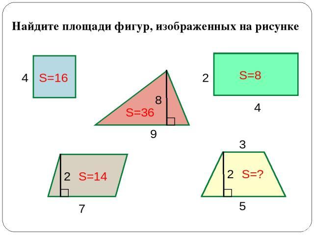 Найдите площади фигур, изображенных на рисунке 4 9 4 2 7 8 2 5 3 2 S=16 S=36 S=8 S=14 S=?