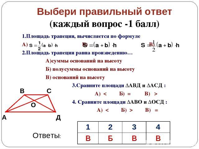 Выбери правильный ответ (каждый вопрос -1 балл) 1.Площадь трапеции, вычисляется по формуле А) Б) В) 2.Площадь трапеции равна произведению… А)суммы оснований на высоту Б) полусуммы оснований на высоту В) оснований на высоту 3.Сравните площади ΔАВД и …
