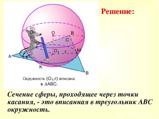 Сечение сферы, проходящее через точки касания, - это вписанная в треугольник АВС окружность. Решение:
