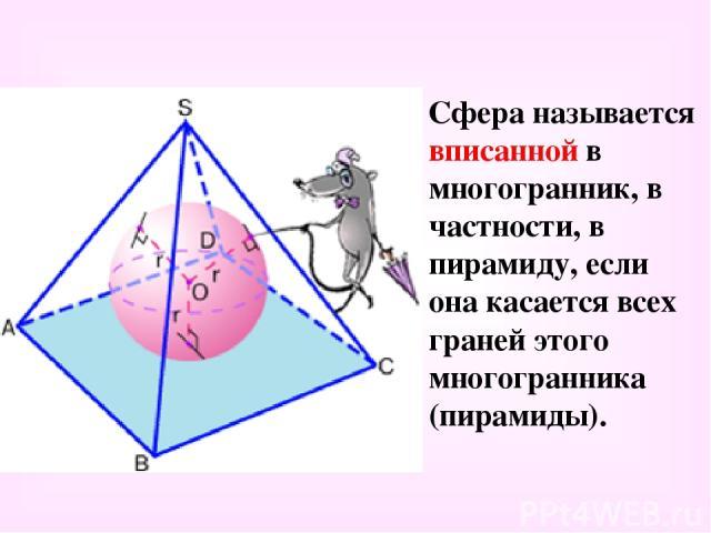 Сфера называется вписанной в многогранник, в частности, в пирамиду, если она касается всех граней этого многогранника (пирамиды).