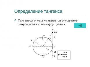 Определение тангенса Тангенсом угла х называется отношение синуса угла х к косин