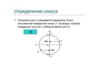 Определение синуса Синусом угла х называется ордината точки, полученной поворото