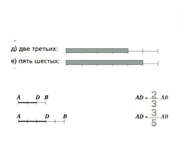 ЗАКРЕПИ: Покажи указанную часть отрезка Запиши, какую часть отрезка АВ составляет отрезок АD.