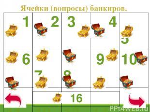 Ячейки (вопросы) банкиров. 1 2 3 4 5 6 7 8 9 10 11 12 13 14 15 16