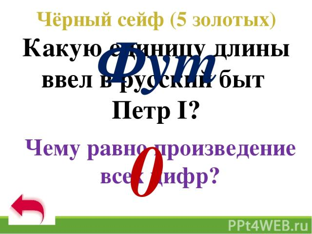 Чёрный сейф (5 золотых) Какую единицу длины ввел в русский быт Петр I? Чему равно произведение всех цифр? Фут 0