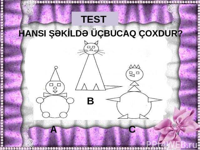 TEST ŞƏKLƏ UYĞUN RİYAZİ İFADƏNİ GÖSTƏR. A) 6+3 B) 9-3 C) 5+4