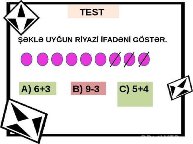4 tərəfi olan neçə həndəsi fiqur var? A) 3 B) 5 C) 2 TEST